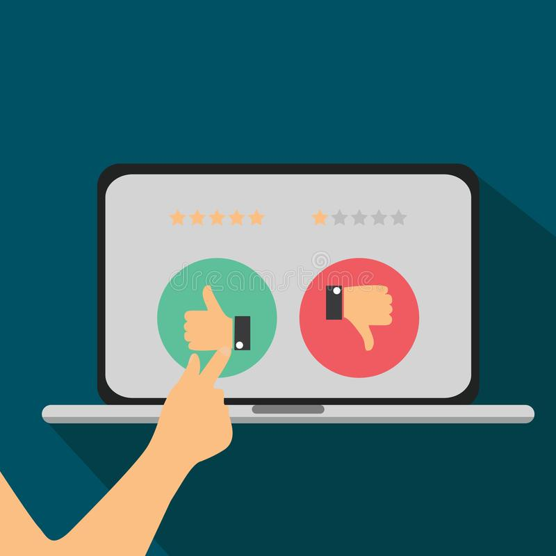 Clasificación en el ejemplo del servicio de atención al cliente Reacción del grado del sitio web y concepto del comentario imagenes de archivo