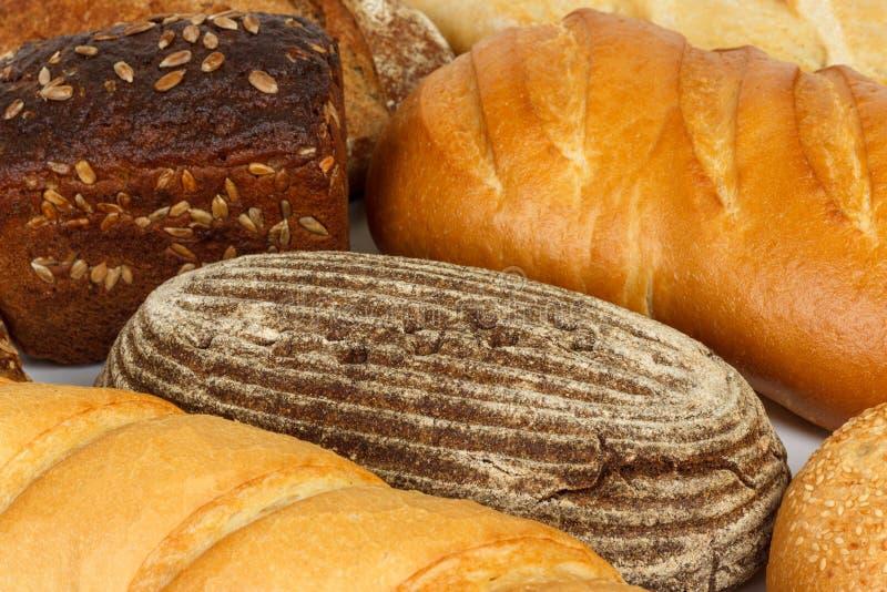 Clasificado del pan fresco o del cierre para arriba Productos de la harina foto de archivo