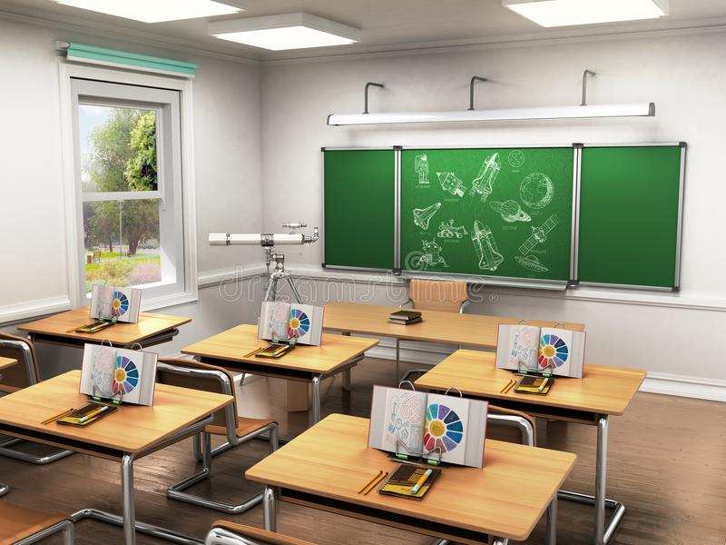 Class Of Astronomy In School Lesson 3d Render Perspective Stock  Illustration - Illustration of seminar, floor: 97728569