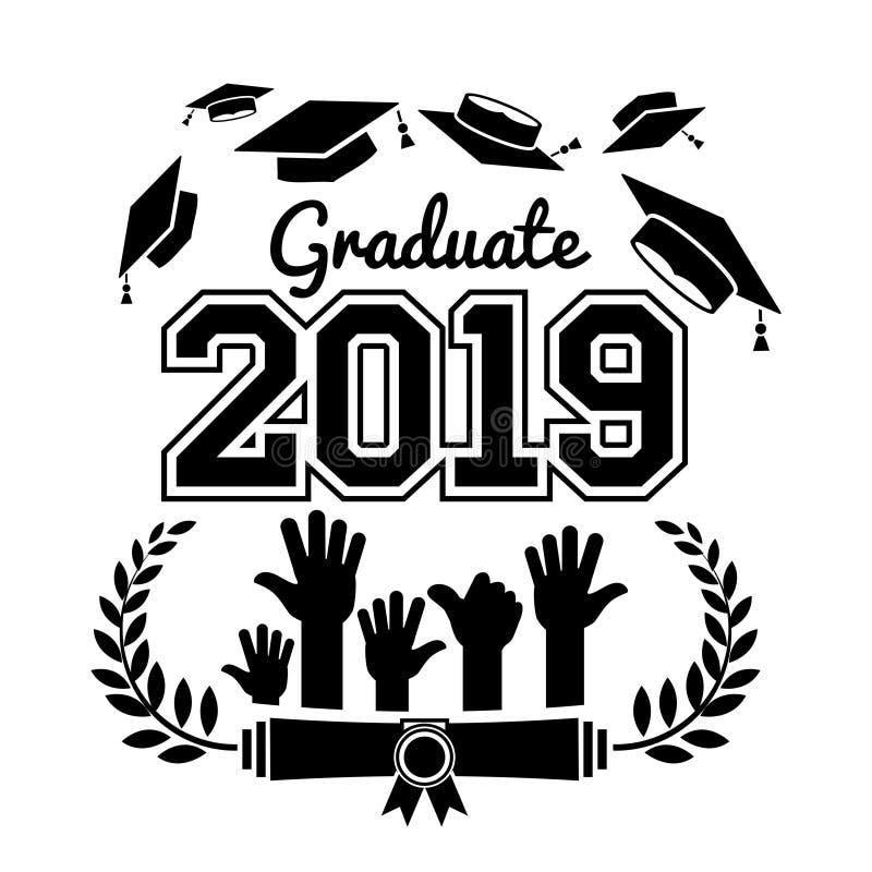 2019 high school graduate class. Class of 2019. The concept of design congratulations graduates of the school. Vector vector illustration