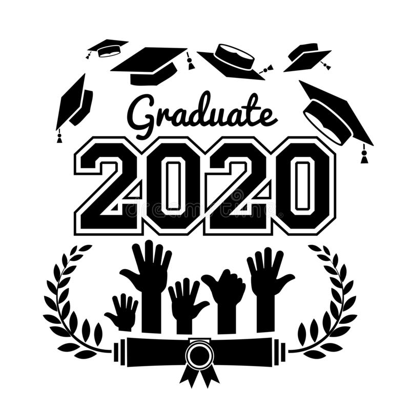 2020 high school graduate class. Class of 2020. The concept of design congratulations graduates of the school. Vector vector illustration