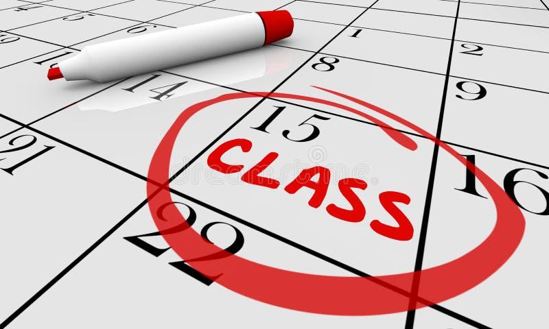 Class Course Training School Date Day Calendar. 3d Illustration stock illustration