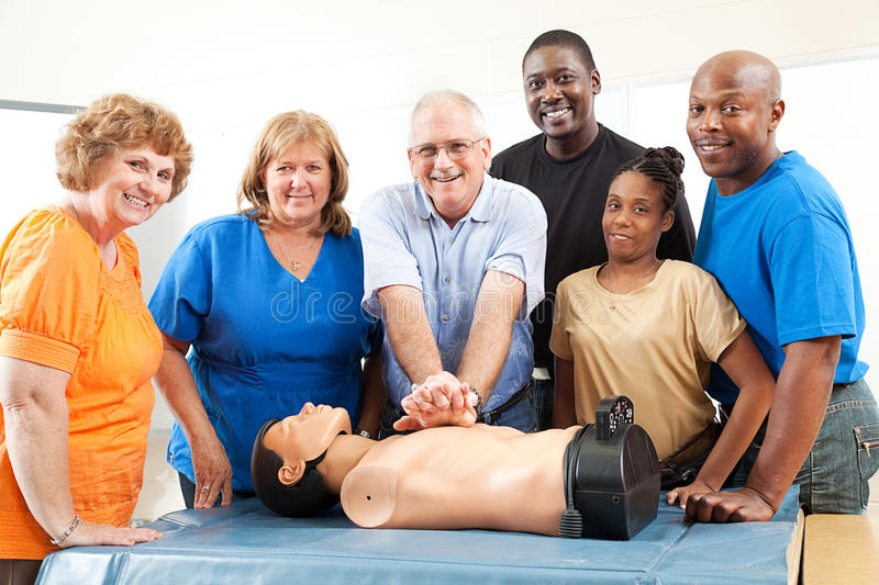Class on CPR and First Aid stock photography