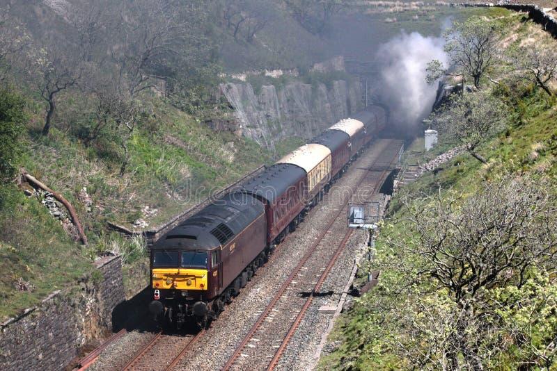 Class 47 diesel locomotive at rear of Fellsman stock photos