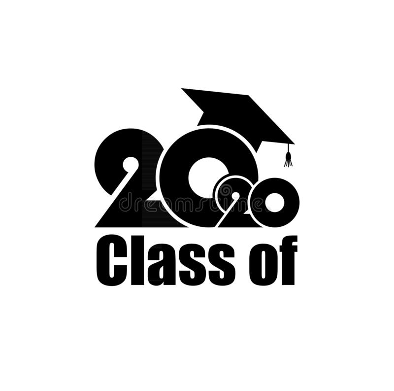 Class of 2020 with Graduation Cap. Simple design on white background. Class of 2020 with Graduation Cap. Flat simple design on white background vector illustration