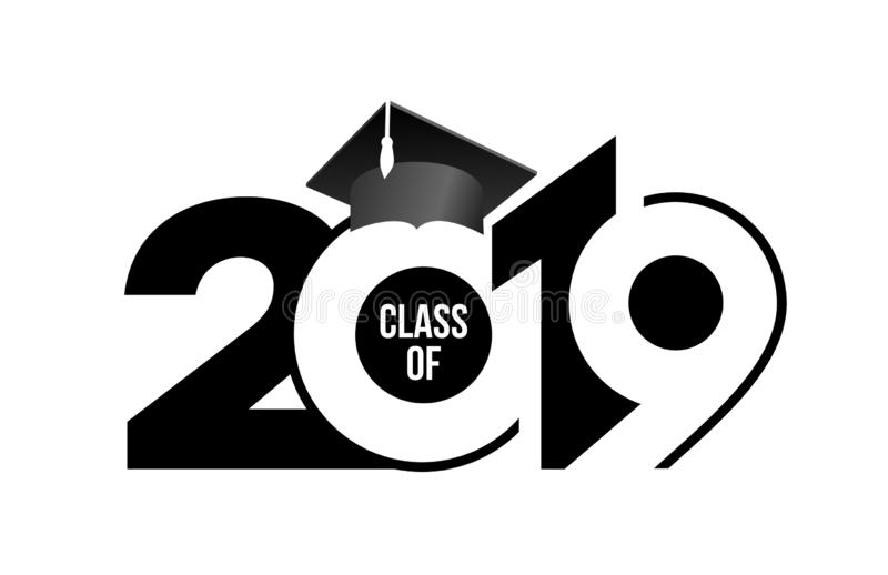 Class of 2019 with graduation cap. Text design pattern. Vector illustration. Isolated on white background.  vector illustration