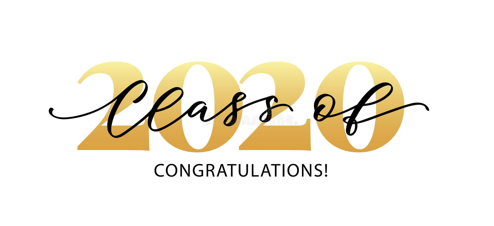 Class of 2020. Modern calligraphy. Hand drawn brush lettering logo. Graduate design yearbook. Vector illustration. Class of 2020. Congratulations. Lettering vector illustration