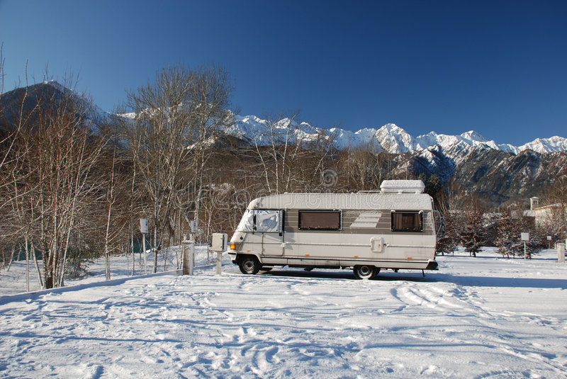 A-Class Motorhome in Snow royalty free stock photography