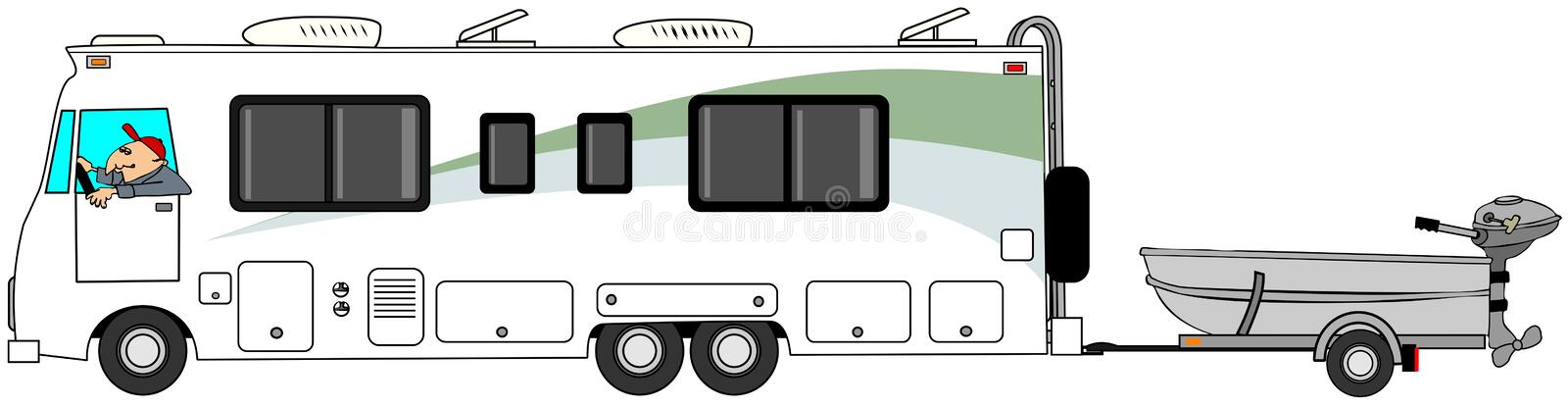 Class A motorhome towing a small fishing boat. Illustration of a man driving a class A motorhome and towing a small aluminum fishing boat stock illustration