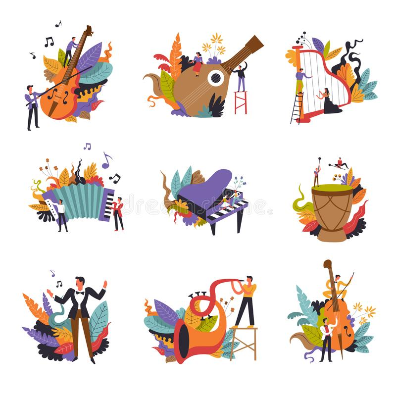 Class music, instruments and musicians on concert isolated set v. Ector. Piano and accordion, trumpet and violin, drums and strings. Talented people playing stock illustration