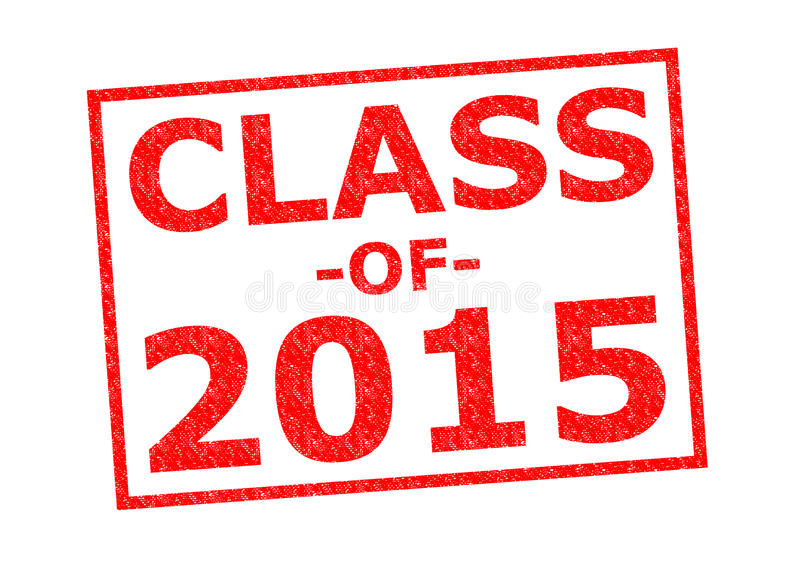 CLASS OF 2015. Red Rubber Stamp over a white background stock images