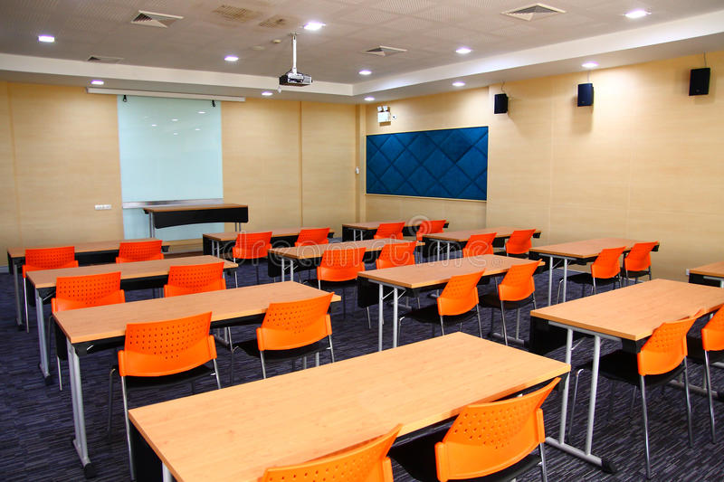Class Room. Or conference room set up for night classes or adult education royalty free stock images