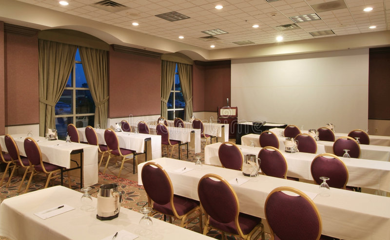 Class room. Or conference room set up for night classes or adult education royalty free stock image