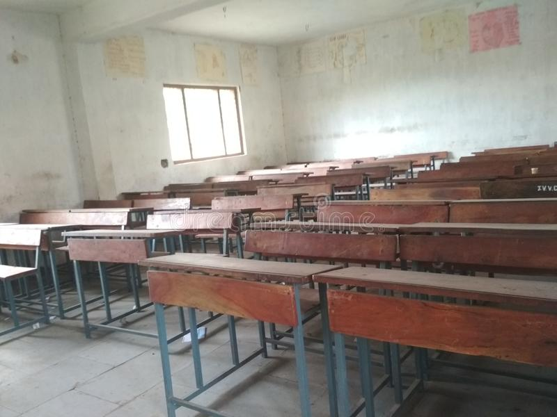 Class room. Benches and smae movement royalty free stock photo