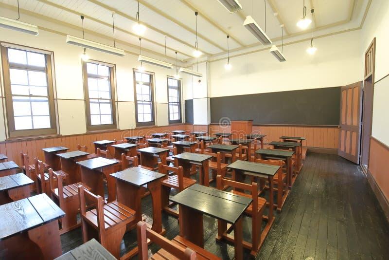 Class room with desk chair blackboard. Empty class room with desk chair blackboard stock photos
