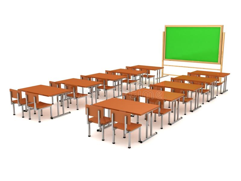 Class room with a school board and school desks stock images