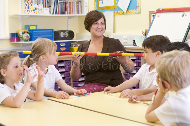 class schoolchildren teacher their στοκ εικόνες