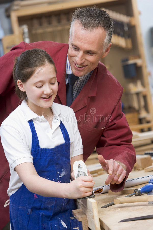class schoolgirl teacher woodwork στοκ φωτογραφίες με δικαίωμα ελεύθερης χρήσης