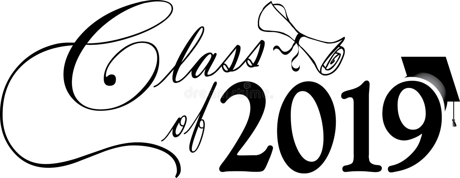 Class of 2019 Script with diploma and graduation cap. Class of 2019 Script with diploma and cap in Black and White for graduation stock illustration