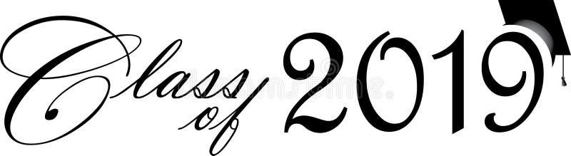 Class of 2019 Script with Cap. Class of 2019 Script with Graduation Cap vector illustration