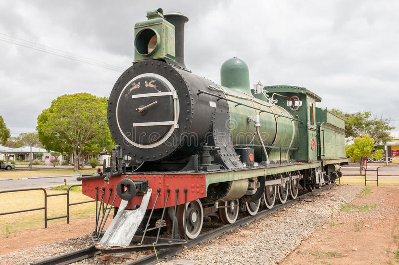 Class 7 steam train locomotive in Riversdale. RIVERSDALE, SOUTH AFRICA - DECEMBER 26, 2014: Class 7 steam train locomotive in Riversdale in the Western Cape royalty free stock image
