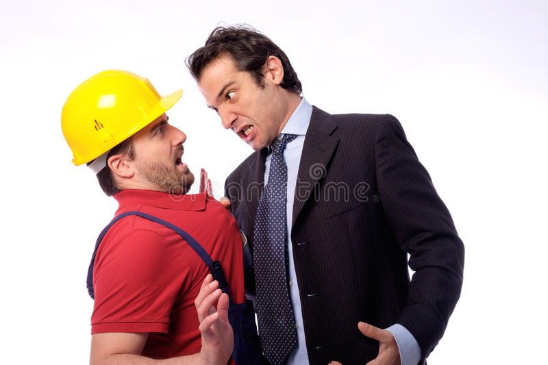Class struggle between manager versus worker royalty free stock photo