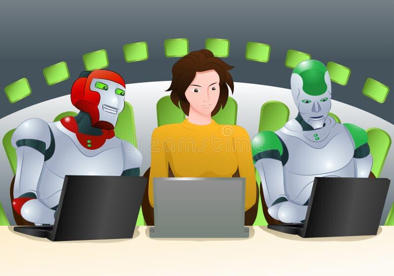 Classe d'humain et de robot illustration stock