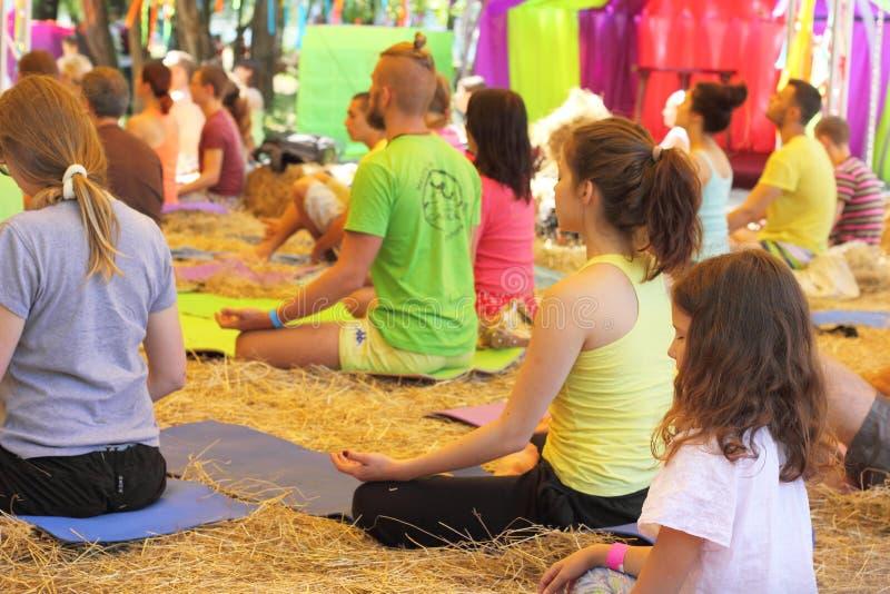 Classe da ioga do grupo imagem de stock royalty free