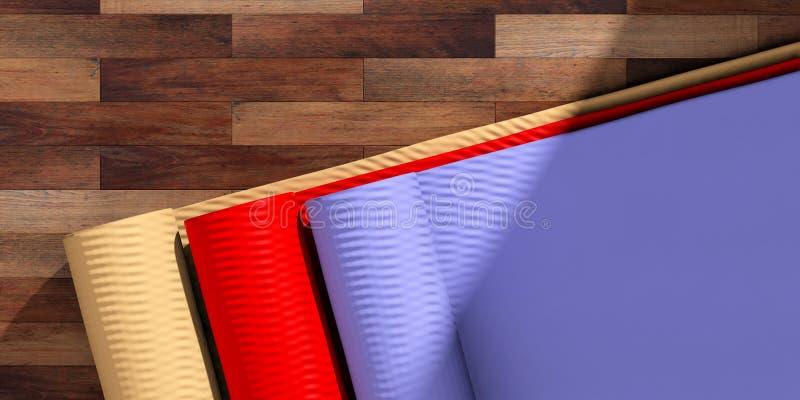 Classe da ioga Esteiras de Exercice no assoalho de madeira, vista superior, espaço da cópia ilustração 3D ilustração do vetor