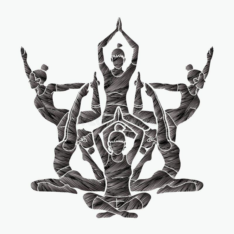 A classe da ioga, grupo de mulheres pratica o vetor do gráfico da ioga ilustração do vetor