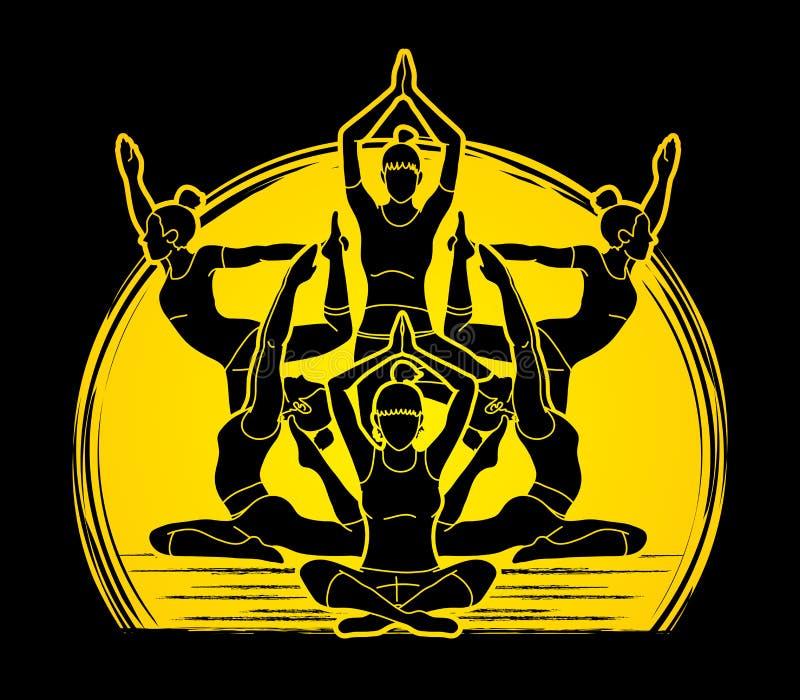 A classe da ioga, grupo de mulheres pratica o vetor do gráfico da ioga ilustração royalty free