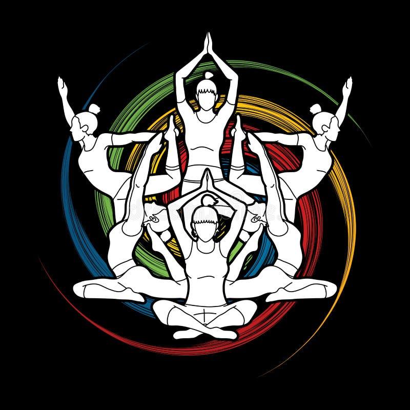 A classe da ioga, grupo de mulheres pratica o vetor do gráfico da ioga ilustração stock