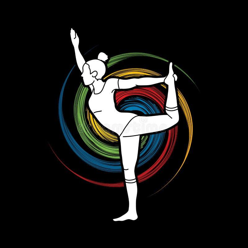 Classe da ioga, vetor do gráfico da ioga da prática da mulher de A ilustração do vetor