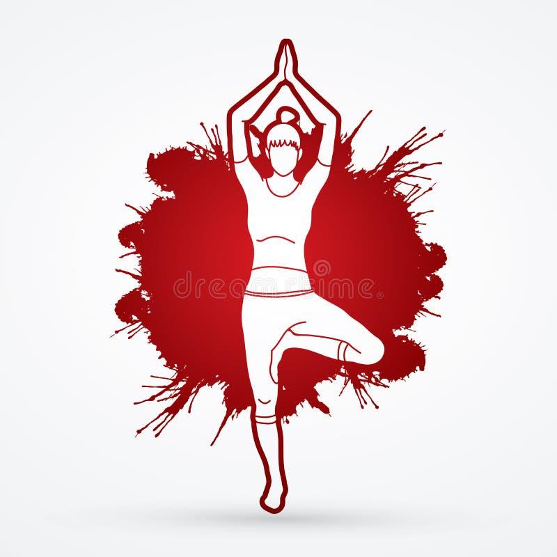 Classe da ioga, vetor do gráfico da ioga da prática da mulher de A ilustração royalty free