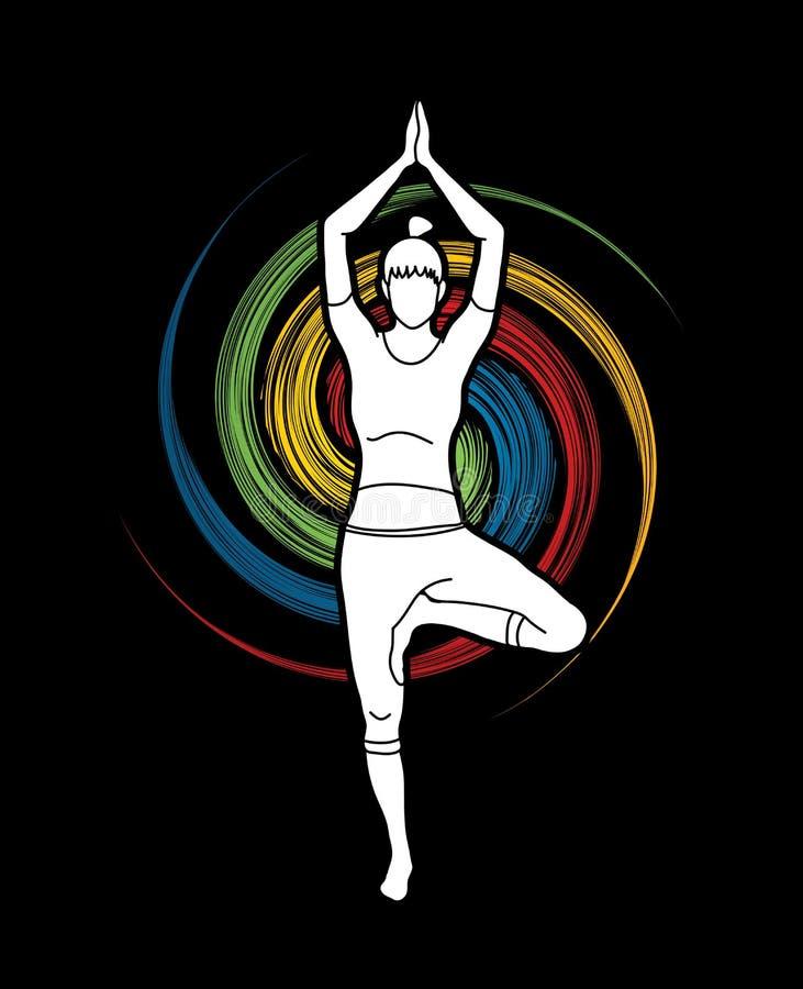 Classe da ioga, vetor do gráfico da ioga da prática da mulher de A ilustração stock