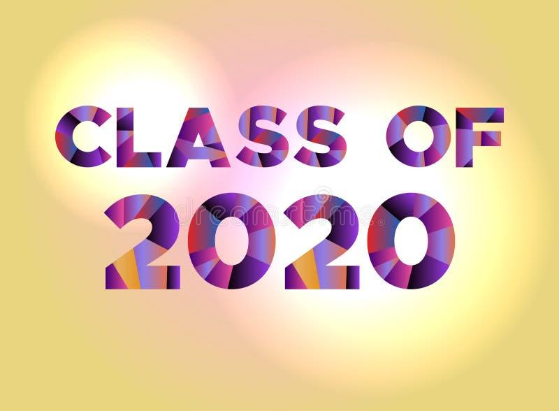 Classe da palavra 2020 colorida do conceito Art Illustration ilustração stock