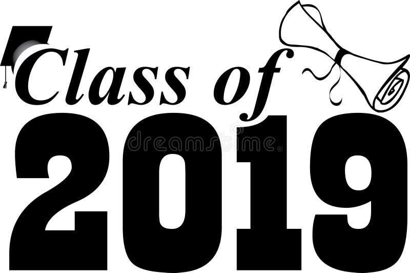 Classe de 2019 com diploma ilustração do vetor