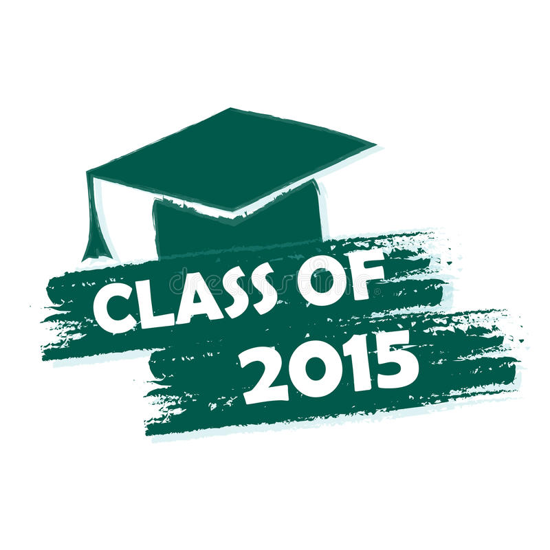 Classe de 2015 com o tampão graduado com borla ilustração stock