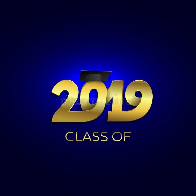 Classe de 2019 com tampão da graduação Teste padrão do projeto do texto Ilustração do vetor Isolado no fundo azul ilustração royalty free