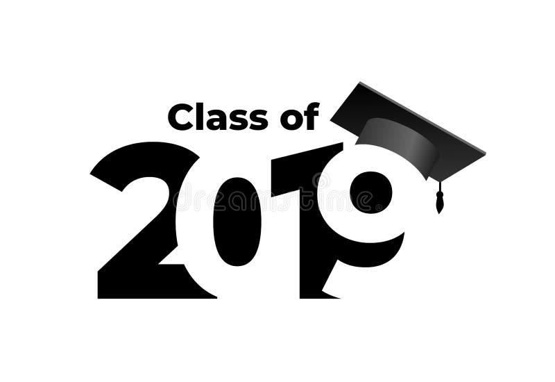 Classe de 2019 com tampão da graduação Teste padrão do projeto do texto Ilustração do vetor Isolado no fundo branco ilustração royalty free