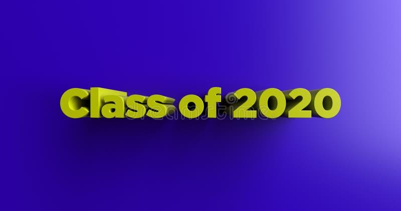 Classe de 2020 - 3D rendeu a ilustração colorida do título ilustração royalty free