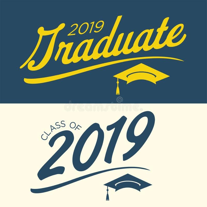 A classe de 2019 felicitações gradua a tipografia ilustração stock