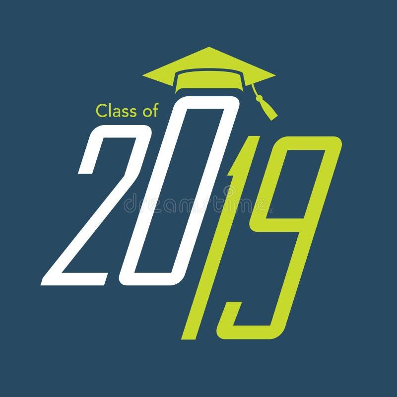 A classe de 2019 felicitações gradua a tipografia ilustração royalty free