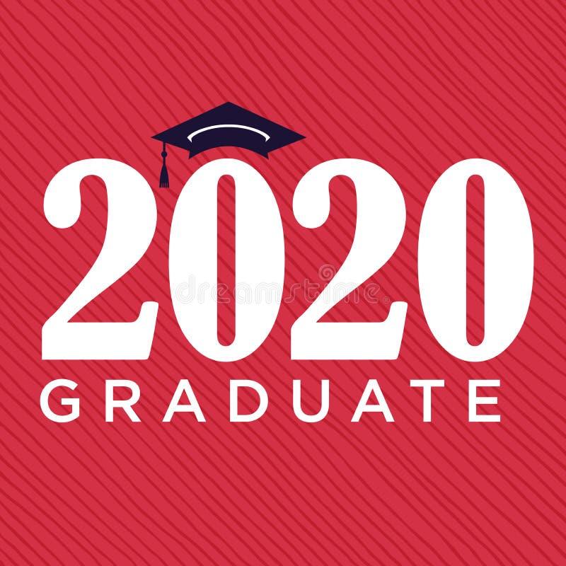 A classe de 2020 felicitações gradua a tipografia com tampão e T ilustração stock