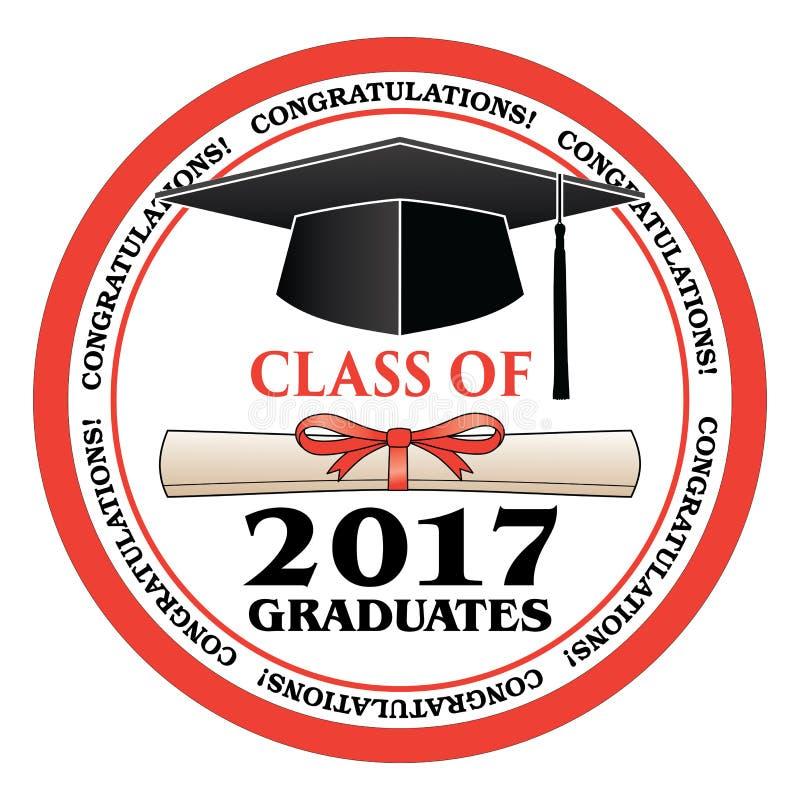 Classe de 2017 graduados ilustração stock