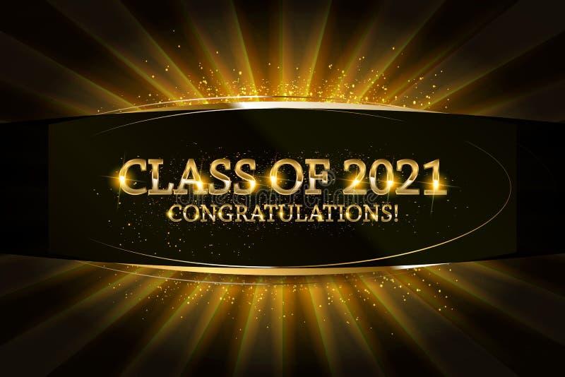 Classe de 2021 graduados das felicitações ilustração stock