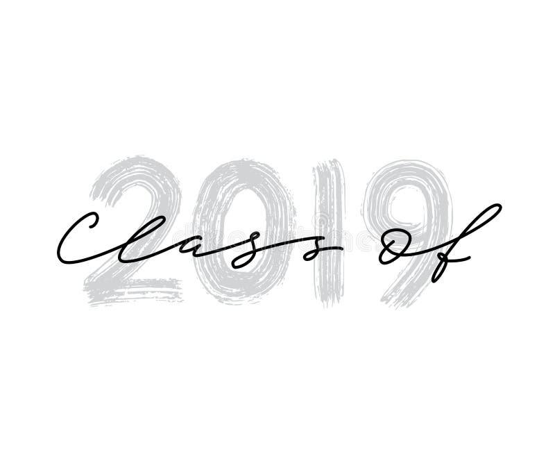 Classe de 2019 Logotipo tirado mão da graduação da rotulação da escova ilustração stock