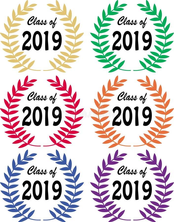 classe de 2019 louros ilustração stock