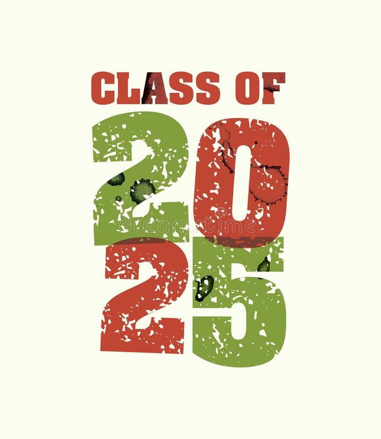 Classe de palavra carimbada conceito 2025 Art Illustration ilustração stock