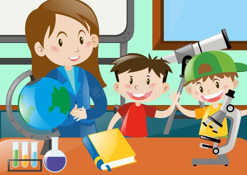 Classe de And Students In do professor ilustração do vetor